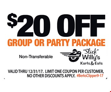$20 off group or party package. Non-Transferable. Valid thru 12/31/17. Limit one coupon per customer. No other discounts apply. #BerksClipper9-17