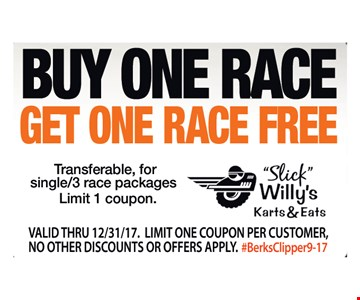 Buy one race, Get one race FREE! Transferable, for single/3 race packages. Limit one coupon. Valid thru 13/31/17. Limit one coupon per customer. No other discounts or offers apply. #BerksClipper9-17