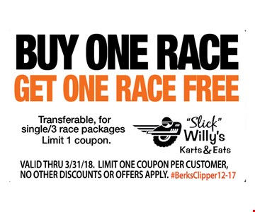 BUY ONE RACE GET ONE RACE FREE