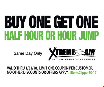 Buy One Get One Half Hour or Hour Jump