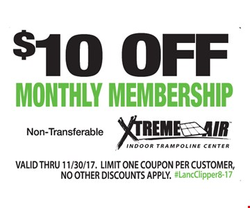$10 off monthly membership