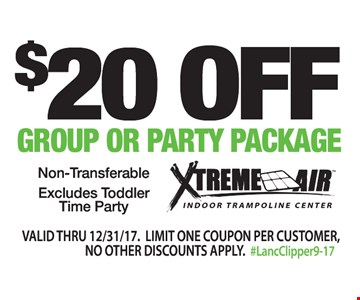$20 Off Group or Party Package. Non-transferable. Excludes Toddler Time Party. Valid thru 12/31/17. Limit one coupon per customer. No other discounts or offers apply. #LancClipper9-17