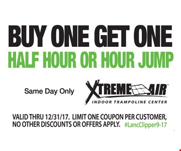 Buy One Get One Half Hour or Hour Jump. Same day only. Valid thru 12/31/17. Limit one coupon per customer. No other discounts or offers apply. #LancClipper9-17