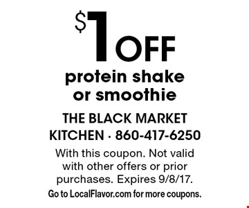 $1off protein shake or smoothie. With this coupon. Not valid with other offers or prior purchases. Expires 9/8/17. Go to LocalFlavor.com for more coupons.