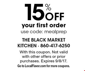 15% off your first order use code: meal prep. With this coupon. Not valid with other offers or prior purchases. Expires 9/8/17. Go to LocalFlavor.com for more coupons.