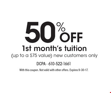 50% Off 1st month's tuition (up to a $75 value). new customers only. With this coupon. Not valid with other offers. Expires 9-30-17. Go to LocalFlavor.com for more coupons.