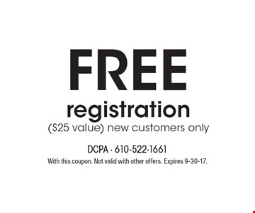 Free registration ($25 value) new customers only. With this coupon. Not valid with other offers. Expires 9-30-17. Go to LocalFlavor.com for more coupons.