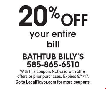 20% Off your entire bill. With this coupon. Not valid with other offers or prior purchases. Expires 9/1/17. Go to LocalFlavor.com for more coupons.