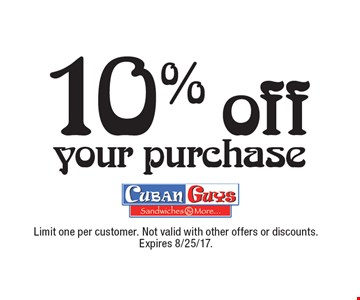 10% off your purchase. Limit one per customer. Not valid with other offers or discounts. Expires 8/25/17.
