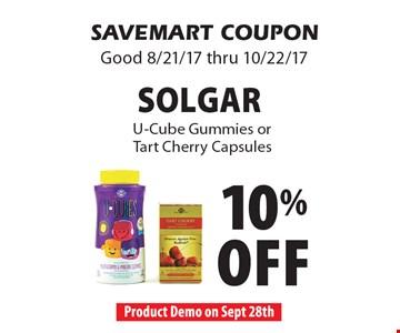 10% off Solgar U-Cube Gummies or Tart Cherry Capsules. SAVEMART COUPON. Good 8/21/17 thru 10/22/17.