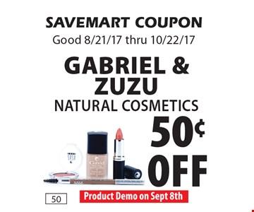 50¢ off Gabriel & ZuZu Natural Cosmetics. SAVEMART COUPON. Good 8/21/17 thru 10/22/17.