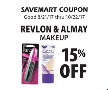 15% off Revlon & Almay makeup. SAVEMART COUPON. Good 8/21/17 thru 10/22/17.