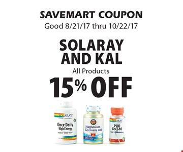 15% off Solaray And KaL All Products. SAVEMART COUPON. Good 8/21/17 thru 10/22/17.