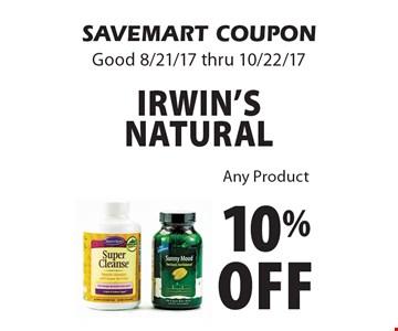 10% off Irwin's Natural Any Product. SAVEMART COUPON.Good 8/21/17 thru 10/22/17.
