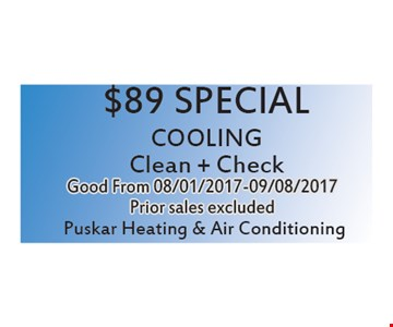 $89 Special Cooling Clean + Check