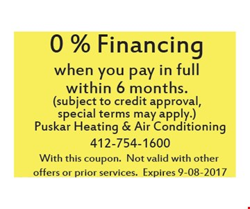0% Financing when you pay in full within 6 months