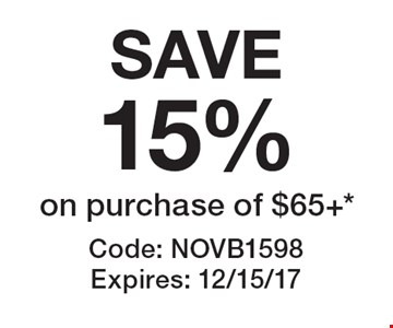 SAVE15% on purchase of $65+. Code: NOVB1598. Expires: 12/15/17