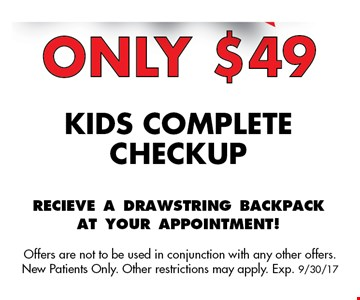 Only $49 kids complete checkup