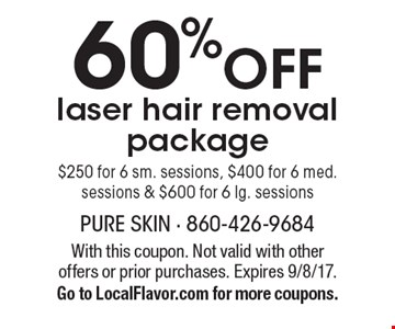 60% off laser hair removal package. $250 for 6 sm. sessions, $400 for 6 med. sessions & $600 for 6 lg. sessions. With this coupon. Not valid with other offers or prior purchases. Expires 9/8/17. Go to LocalFlavor.com for more coupons.