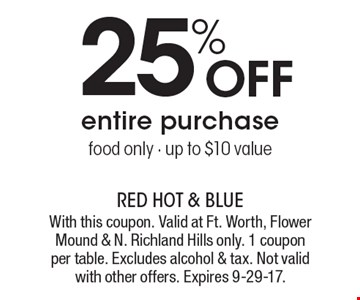 25% off entire purchase, food only, up to $10 value. With this coupon. Valid at Ft. Worth, Flower Mound & N. Richland Hills only. 1 coupon per table. Excludes alcohol & tax. Not valid with other offers. Expires 9-29-17.