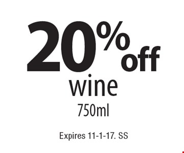 20% off wine 750ml. Expires 11-1-17. SS