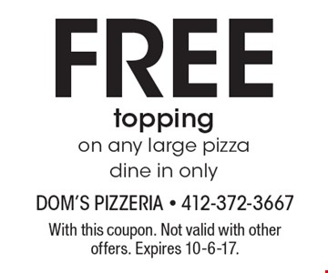 Free topping on any large pizza. Dine in only. With this coupon. Not valid with other offers. Expires 10-6-17.