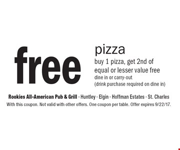 Free pizza buy 1 pizza, get 2nd of equal or lesser value free dine in or carry-out (drink purchase required on dine in). With this coupon. Not valid with other offers. One coupon per table. Offer expires 9/22/17.