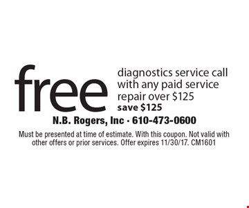 free diagnostics service call with any paid service repair over $125 save $125. Must be presented at time of estimate. With this coupon. Not valid with other offers or prior services. Offer expires 11/30/17. CM1601