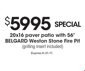 $5995 SPECIAL 20x16 paver patio with 56