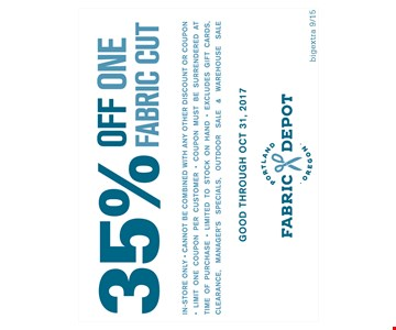 35% off one fabric cut