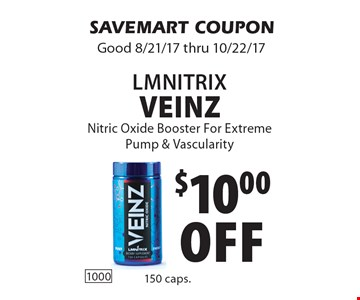$10.00off LmnitrIx veinz Nitric Oxide Booster For Extreme Pump & Vascularity. SAVEMART COUPONGood 8/21/17 thru 10/22/17