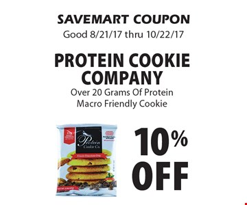 10% off protein cookie company Over 20 Grams Of ProteinMacro Friendly Cookie. SAVEMART COUPONGood 8/21/17 thru 10/22/17