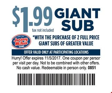 $1.99 giant sub