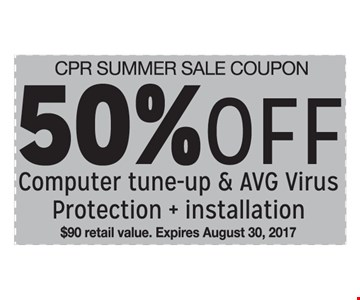 50% Off Computer tune-up & AVG Virus Protection + installation