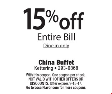 15% off Entire Bill Dine in only. With this coupon. One coupon per check.  Not valid with other offers OR discounts. Offer expires 9-15-17.Go to LocalFlavor.com for more coupons