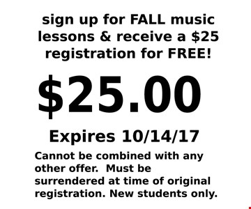 $25 registration for Free