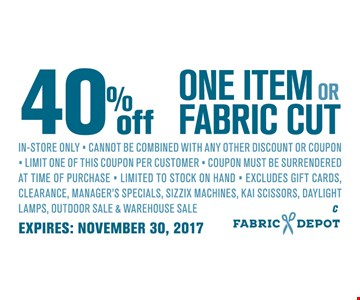 40% Off On Item or Fabric Cut