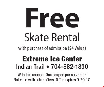 Free Skate Rental With Purchase Of Admission ($4 Value). With this coupon. One coupon per customer. Not valid with other offers. Offer expires 9-29-17.