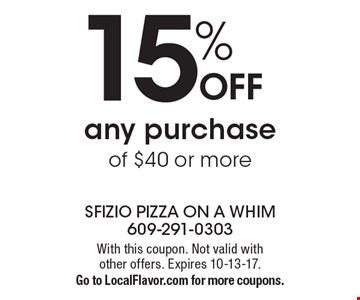 15% off any purchase of $40 or more. With this coupon. Not valid with other offers. Expires 10-13-17.Go to LocalFlavor.com for more coupons.