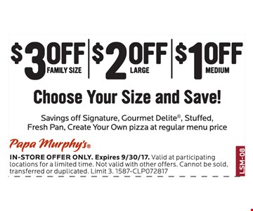 Choose Your Size and Save $1 to $3