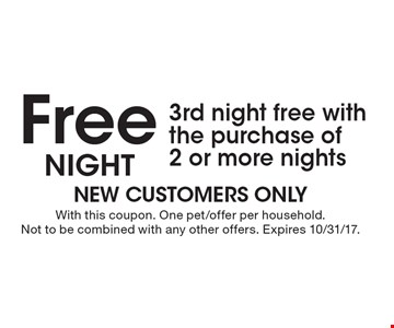 Free Night3rd night free with the purchase of 2 or more nights. With this coupon. One pet/offer per household. Not to be combined with any other offers. Expires 10/31/17.