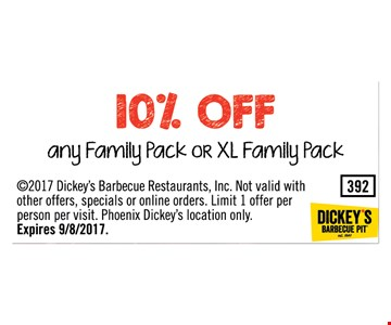 10% OFF - any family pack or XL family Pack