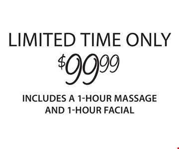 $99.99 1-hour massage and 1-hour facial. Limited time only. Introductory offer valid for first-time guests only. Both 1-hour services must be redeemed in sequential appointments on the same day. Offer valid thru 3/5/18. Only valid at Regency Court location. Service times include up to 10 min. of prep time. Additional local taxes and fees may apply. Rates and services may vary by location. See store for details. Each Massage Heights Retreat is independently owned and operated. Franchise opportunities available. 2018 Massage Heights Franchising, LLC. MM 32398