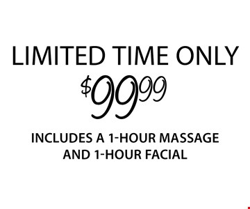 $99.99 1-hour massage and 1-hour facial. Limited time only Introductory offer valid for first-time guests only. Both 1-hour services must be redeemed in sequential appointments on the same day. Offer valid thru 4/19/18. Only valid at Regency Court location. Service times include up to 10 min. of prep time. Additional local taxes and fees may apply. Rates and services may vary by location. See store for details. Each Massage Heights Retreat is independently owned and operated. Franchise opportunities available. 2017 Massage Heights Franchising, LLC. MM 32398