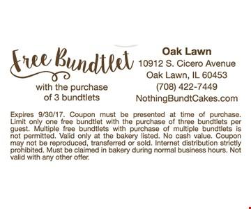 Free Bundtlet With The Purchase Of Three Bundtlets
