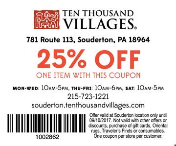 25% off one item with this coupon
