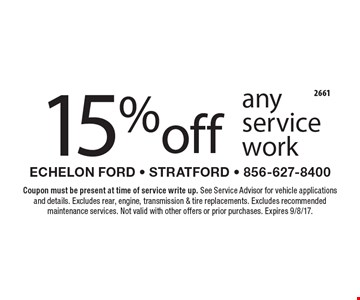 15% off any service work. Coupon must be present at time of service write up. See Service Advisor for vehicle applications and details. Excludes rear, engine, transmission & tire replacements. Excludes recommended maintenance services. Not valid with other offers or prior purchases. Expires 9/8/17.