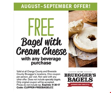 FREE Bagel w/ Cream Cheese with any beverage purchase