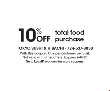 10% Off total food purchase. With this coupon. One per customer per visit. Not valid with other offers. Expires 9-8-17. Go to LocalFlavor.com for more coupons.