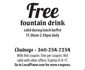 Free fountain drink. Valid during lunch buffet 11:30am-2:30pm daily. With this coupon. One per coupon. Not valid with other offers. Expires 9-8-17. Go to LocalFlavor.com for more coupons.